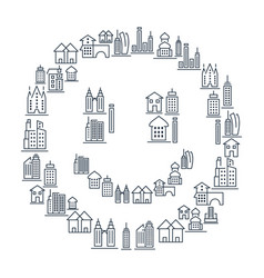 municipal and living buildings icons set vector image