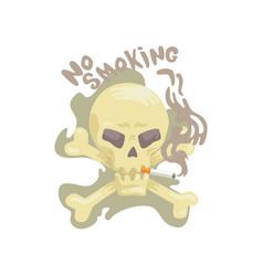 no smoking sign with skull and bones bad habit vector image