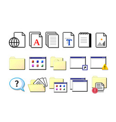 old computer icons retro pixel signs yellow vector image