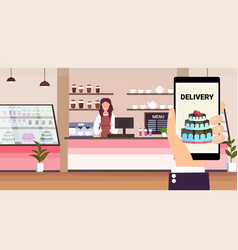 Online mobile application food delivery concept vector