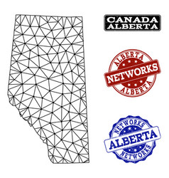 Polygonal network mesh map of alberta vector