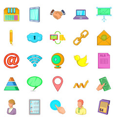 Recording icons set cartoon style vector
