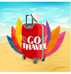 Red suitcase on sunny beach go travel vector