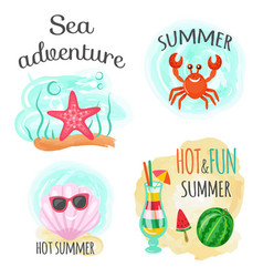 Sea adventure and hot summer underwater animals vector
