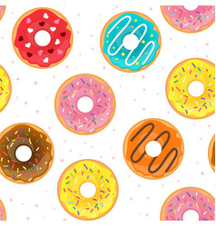 seamless pattern with tasty doughnuts vector image