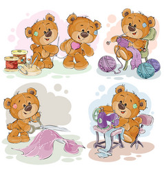 set clip art teddy vector image