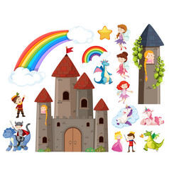 set fairytale characters and castle towers vector image