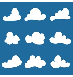 Set of stylized cloud silhouettes vector image