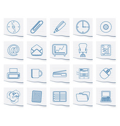 simple office tools icons on a piece of paper vector image