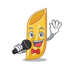 Singing penne pasta character cartoon vector