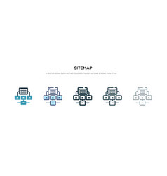 Sitemap icon in different style two colored and vector
