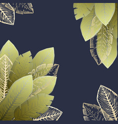 square frame with green and golden tropical leaves vector image