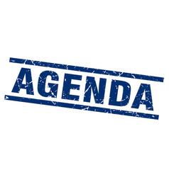 Square grunge blue agenda stamp vector
