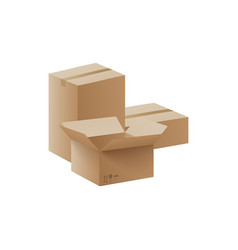 stack carton delivery and storage boxes 3d vector image