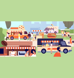 street food festival festival vendors shops vector image