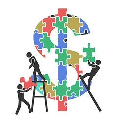 teamwork money sign Jigsaw puzzle vector image