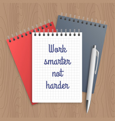 Text work smarter not harder vector