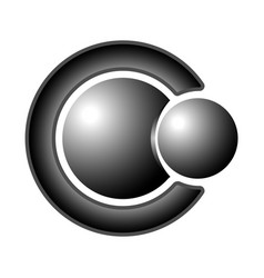 the logo two steel balls and letter c vector image