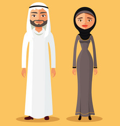 traditional arab couple cartoon flat vector image