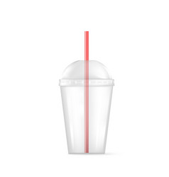transparent plastic empty cup for soda or vector image