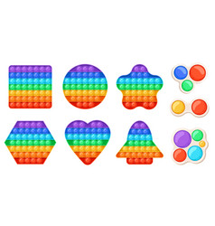 Trendy relaxing fidget toys pop it and simple vector