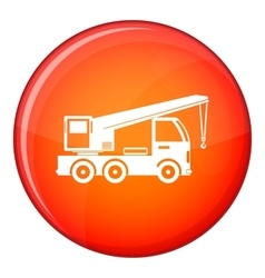 Truck mounted crane icon flat style vector