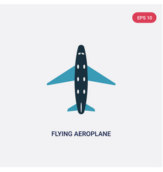 Two color flying aeroplane top view icon from vector