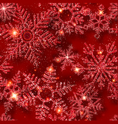 winter seamless pattern with shining snowflakes vector image