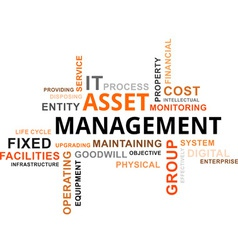 word cloud asset management vector image