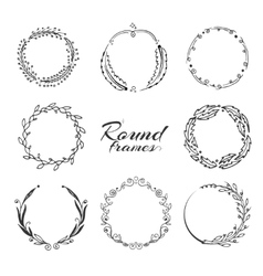 Branch with leaves laurel wreath floral circle vector