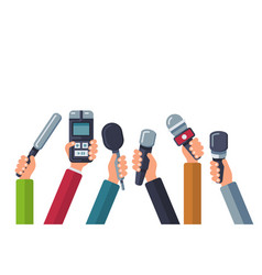 broadcasting media tv interview press and news vector image