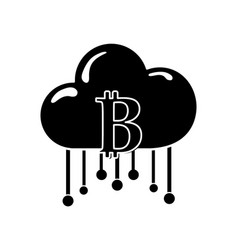 Contour cloud data center with bicoin symbol vector