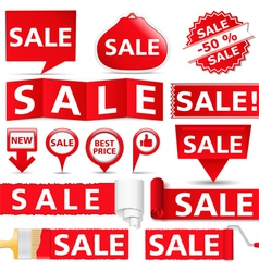 Red sale banners vector
