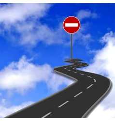 Road red stop road sign and blue sky vector image