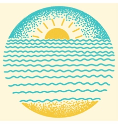 Sea sunset with sun sea waves and sand vector image vector image