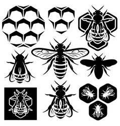 set of monochrome honey emblems and design vector image vector image