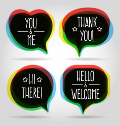 speech bubbles welcome signs vector image vector image