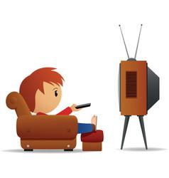 cartoon man tv vector image vector image