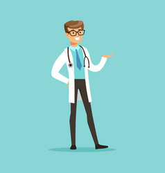cheerful male doctor character standing vector image vector image