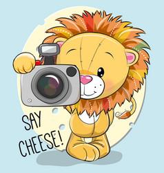 cute cartoon lion with a camera vector image vector image