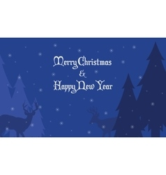Deer and spruce Christmas landscape vector image vector image