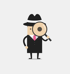detective holding a magnifying glass vector image