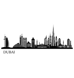 Dubai City skyline detailed silhouette vector image vector image