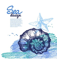 Seashell background sea nautical design vector