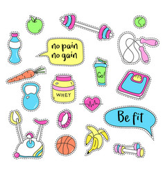 sport stickers set hand drawn fitness patch vector image vector image