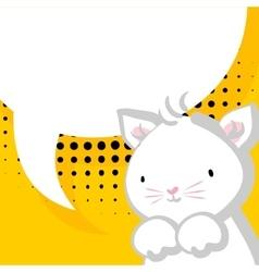 White cute little kitty baby comic balloon vector image