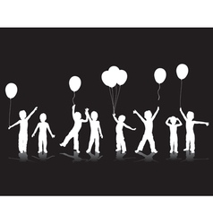 children playing silhouettes vector image vector image