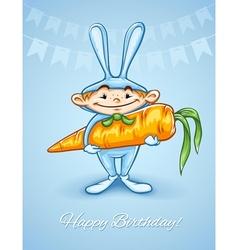 Happy little boy in rabbits vector image
