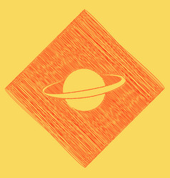 planet in space sign red scribble icon vector image vector image