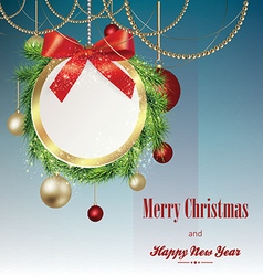 Christmas banner with frame from fir branches vector image
